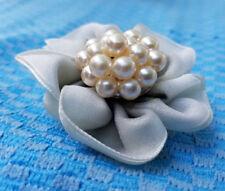 Posie Flower Wedding Bride Pin Brooch Estate Silky Satin Cloth Faux Pearl Center
