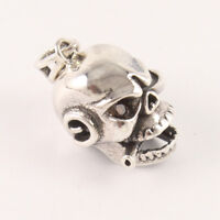 Smoking Pirate Skull Pendant Charm With Curb Chain 925 Sterling Silver Jewelry