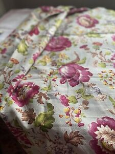 Vintage Floral Fabric, Barkcloth Pink Peonies & Lilies. Interior Furnishings /1y