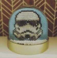Storm Trooper snow globe with film quote, cross stitch art, great gift!