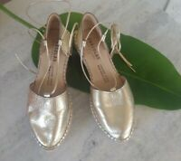 Fabiolas Gold Leather Espadrilles Size 37 Made in Spain