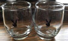VINTAGE! 1960's 70's PLAYBOY BUNNY Roly Poly Glasses Set of 2 EC!