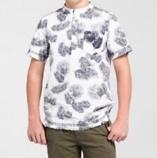 Art Class Boys Pull Over Shirt Short Sleeve Henley Style Leaf Print XL 16  #6963