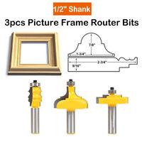 """3Pcs Picture Frame Router Bit Set 1/2 """"Schaft  Holzfräser neu Hartmetallspitze"""