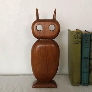 Vtg MCM Teak Wood Owl or Alien Figure Statuette Carved Wooden Mid Century Modern