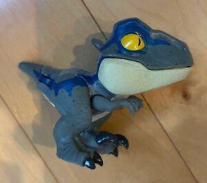 """Mattel Jurassic World Snap Squad Matte Velociraptor Blue 2.5"""" Mini Figure"""
