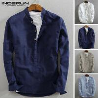 Chemise pour homme à manches longues sans col Henley boutons T-shirt 100% coton