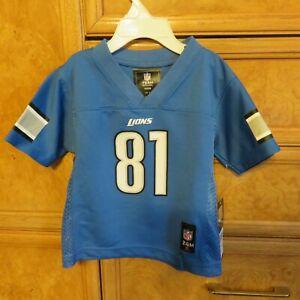 Kids NFL Team Apparel Jersey Calvin Johnson Detriot Lions Blue #81 24M NWT $44