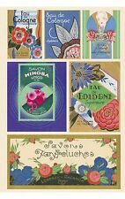 Vintage 6 art deco perfume Paris label illustrations on glossy paper crafts