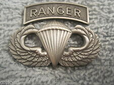 US ARMY Airborne Jump Wings & Ranger Tab Solid Brass w/Plating Ranger Pin