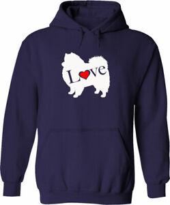 I Love Pomeranian Pom Zwergspitz Spitz Unisex Mens Hoodie Sweater Cute Dog Lover