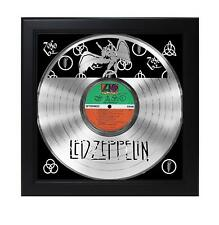 Led Zeppelin Laser Cut Platinum Record With Poster Art Shadowbox C3