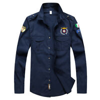 TAT6349 New Men's Army Military Style Casual Long Sleeve Shirts 100%Cotton