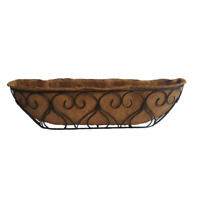30-Inch Metal Planter With Coconut Liner Window Wall Deck Flower Planter