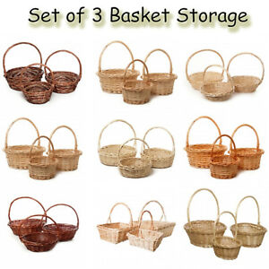 Baskets 3 Set Storage Box Small Medium Large Vintage Antique Picnic