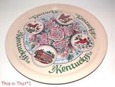 Vintage Kentucky State Metal Tin Tray Platter Charger Plate Horse Souvenir