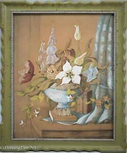 Beautiful Antique Still Life Gouache Painting, Flowers and Book, Signed 1 of 2