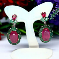 NATURAL 8 X 12 mm. OVAL RED RUBY & GREEN EMERALD EARRINGS 925 STERLING SILVER