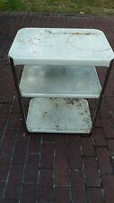Vintage White Metal 2 Shelf Cart