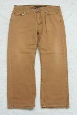 """Vintage Jeans Solid Cotton Men's Man's Denim Brown Pants Zipper Fly 36"""" x 30"""""""