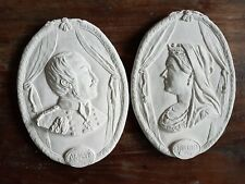 2 England Queen Victoria and King Prince Albert Ornate Plaster Wall  Plaques New
