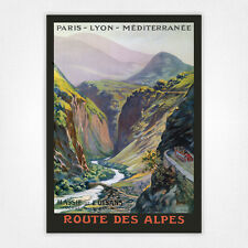 Vintage TRAVEL poster-A4-ROUTE DES ALPES