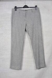 MAX MARA WEEKEND Grey herringbone tweed wool cigarette FITW13 trousers 16 L30