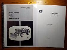 John Deere 42 Snow Plow Blade for 1010 1020 2010 2020 Tractor Oper Manual +Parts