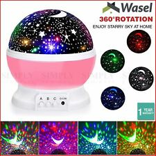 Wasel Starry Sky Night Lamp 3D Star Moon Projector Lunar Light Baby Kids Galaxy