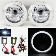 "7"" Round 8K HID Xenon H4 Clear Projector CCFL DRL Glass Headlights Pair Plymouth"