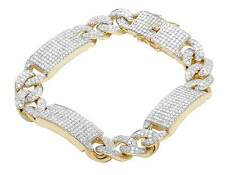Men's 10k Yellow Gold Genuine Diamond Iced Miami Cuban ID Bar Bracelet 9 Ct 12mm