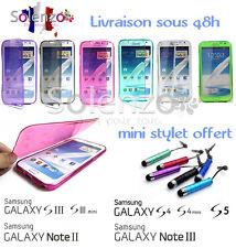 Coque housse gel souple silicone rabat pour Samsung  S3 S4 mini S5 note 2 3 4