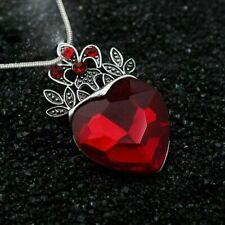 Charm Descendants Red Stone Crystal Heart Crown Pendant Necklace Women Jewelry