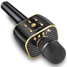 Black Wireless Bluetooth Cell Phone Karaoke Microphone Usb Speaker Mini Home Ktv