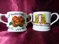 Pair TAUNTON CIDER COMPANY Twin Handled CERAMIC MUGS Wade Pottery 1981 Ltd Edit