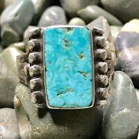 1930s Vivid Light Blue Turquoise Rectangle Ingot Silver Ring Fred Harvey Pawn