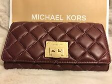 NWT MICHAEL KORS SOFT QUILTED LEATHER ASTRID CARRYALL WALLET IN MERLOT/GOLD-HDWR