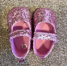 Pink Glittery Baby Shoes 6-12 Months New
