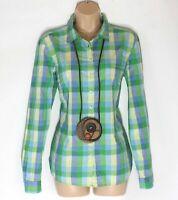 Women's Vintage FRANCO CALLEGARI Green Blue Check Cotton Shirt Blouse UK14 UK16
