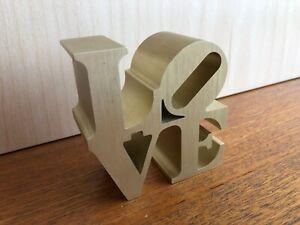 ROBERT INDIANA 'LOVE' Gold Aluminium Paperweight / Small Sculpture - Pop Art 70s
