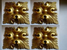 DECORATIVE MOULDINGS ~ FOUR ORNATE LARGE SQUARE LEAFS ~ ANTIQUE GOLD RESIN