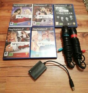SONY PS2 SINGSTAR BUNDLE 5 GAMES MICROPHONES CONNECTOR R&B ROCKS PLAYSTATION