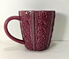 New listing New Opalhouse Sweater Weather Coffee Mug Tea Cup Pink Red Embossed Stoneware