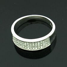 ARGENTO Sterling Zirconi Micro Pave set anelli taglia R