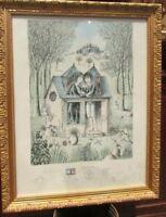 ancienne lithographie cadre raymond peynet numerotée signée & dedicace originale