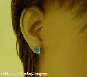 14k White Gold 2 Carat Swiss Blue Topaz Princess Square Cut Solitaire Earrings