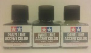 Tamiya Panel line accent color, 3 pcs bundle