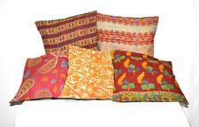 Set of 5 Pillow Cover Throw Kantha Cushion Indian Pillows Gypsy Pillow Boho 16""