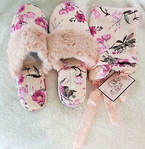 Victoria's Secret Signature Satin Slippers & Matching Bag Pink Floral 7/8