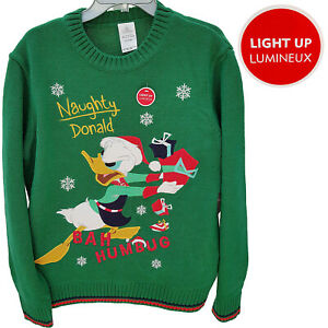 Disney Store Donald Duck Christmas Jumper Holiday Light Up Ugly Sweater Novelty
